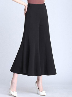 Solid Color Women's Flared Wide Leg Pants