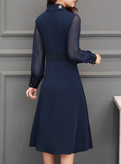 Solid Color Perspective V-Neck Long Sleeves Pleated Midi Dresses