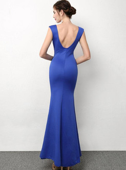 Sequined Contrast Solid Color Deep V Neck Sleeveless Sheath Evening Dresses