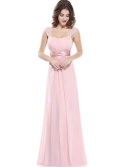 Contrast Solid Color Square Collar Sleevesless Backless Evening Dresses