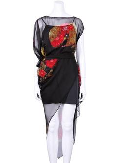 Printing Contrast O-Neck Half Sleeves Dresses