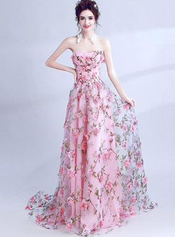 Three-Dimensional Flowers Printing Trailing Long Dresses