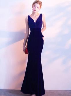 Velvet Sequined V-Neck Sheath Backless Dresses