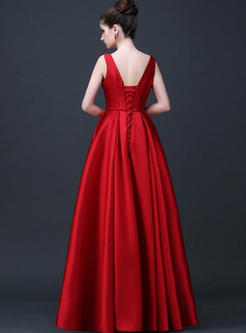 Solid Color Sashes O-Neck Sleeveless High Waist Backless Evening Dresses