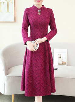 Solid Color Jacquard Stand Collar A-Line Dresses