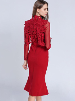 Lace Hollow Out Solid Color Stand Collar Mermaid A-Line Dresses