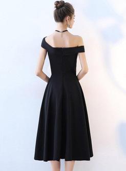 Solid Color Slash Neck Sleevesless Long Dresses