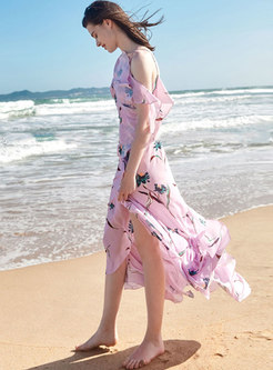 Chic Asymmetric Off Shoulder Print Holiday Maxi Dress