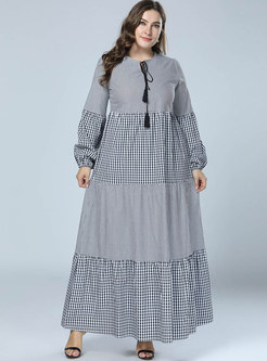 Grey Striped Big Hem Plaid Lantern Sleeve Maxi Dress