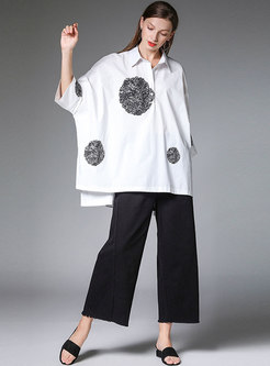 Loose Print Asymmetric Cotton Casual Blouse