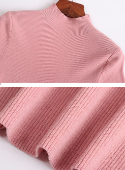Brief All-matched Pure Color Knitted Sweater
