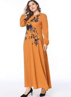 Loose Plus Size Embroidery Splicing Maxi Dress