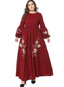 Stylish Embroidery Loose Waist Pleated Maxi Dress