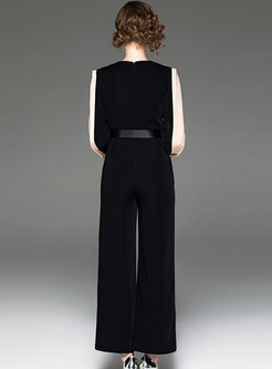 Color-blocked Splicing Gathered Waist Breathable Jumpsuit