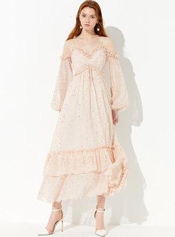 Trendy V-neck Backless Sequined Slim Maxi Dress