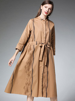 Khaki Plus Size Striped Print Tied T-shirt Dress With Belt