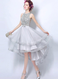 Gray Sequin O-Neck Sleeveless Backless Asymmetric Dresses