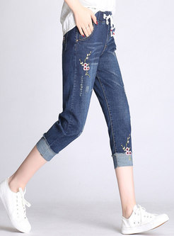 Brief Embroidered High Elastic Tied Pencil Pants