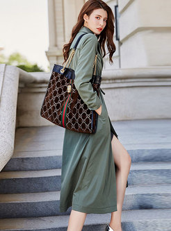 Casual Lapel Tied Long Sleeve Trench Coat