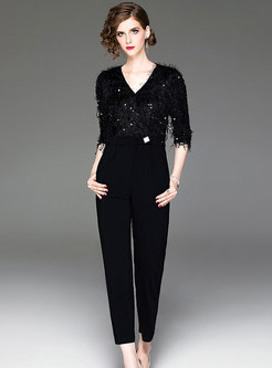 Chic V-neck Sequined Half Sleeve Slim Jumpsuit