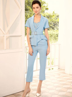 Work Pure Color Lace Gathered Waist Three Piece Suits