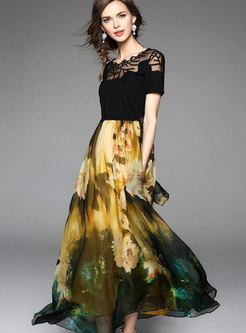Lace Printing Contrast Color Block O-Neck Short Sleeves Long Dresses