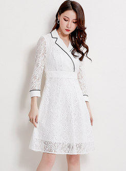 Brief Pure Color Belted Lace High Waist Skater Dress