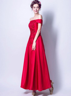 Baeding Embroidery Solid Color Sashes Backless Dresse