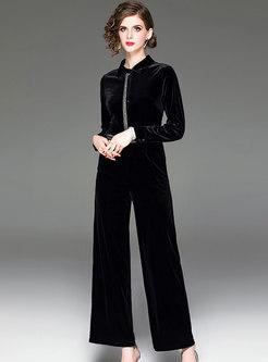 Stylish High Waist Velvet Wide Leg Jumpsuit