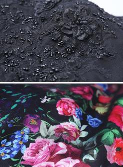 Lace Mesh Printing O-Neck Sleevesless Maxi Dresses