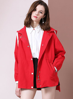 Chic Pure Color Loose Hooded Irregular Trench Coat