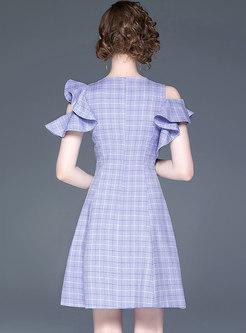 Fashion O-neck Plaid High Waist Skater Dress