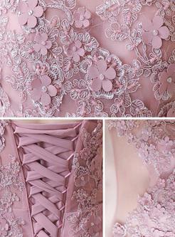 Lace Applique Solid Color O-Neck Backless Elegant Tailing Evening Dresses