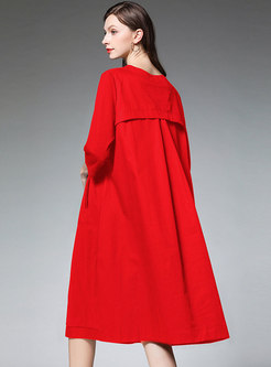 Stylish Pure Color Plus Size Slim Shift Dress