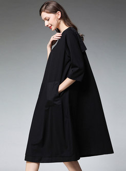 Brief O-neck Black Loose Plus Size Shift Dress