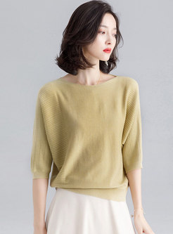 Brief Pure Color O-neck Loose Sweater