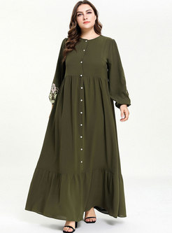 Plus Size Embroidered Single-breasted Maxi Dress