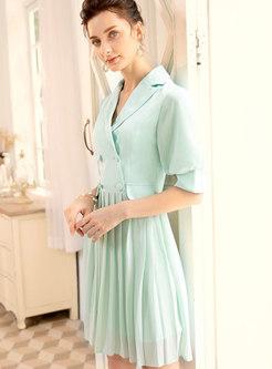 Elegant Pure Color Lapel Splicing Pleated Mini Dress