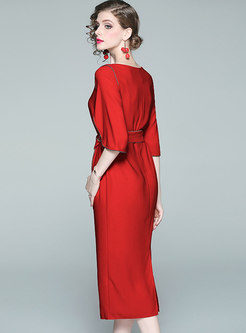 Elegant Gathered Waist Tied Half Sleeve Bodycon Dress
