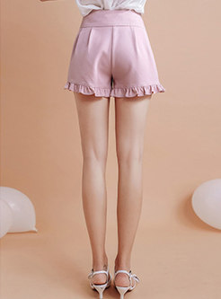 Chic Pure Color Tied All-matched Straight Shorts