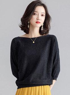 Casual Black Loose Slim Bat Sleeve Sweater