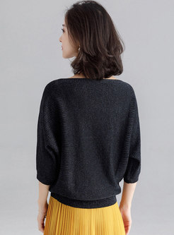 Casual Black Loose Slim Bat Sleeve Sweater