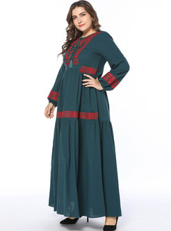 Color-blocked Embroidered Splicing Maxi Dress