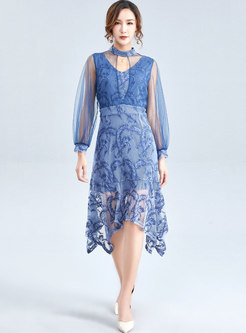 Stylish Mesh Hollow Out Irregular Mermaid Sheath Dress