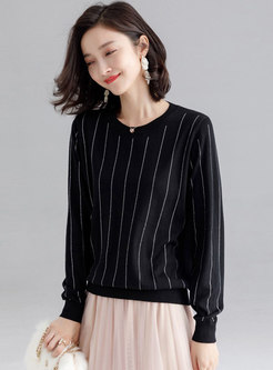 Casual Vertical Stripes Long Sleeve Daily Sweater