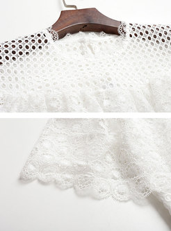 Trendy Pure Color Lace Gathered Waist Mermaid Dress