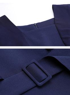 Solid Color Splicing Pleated Split Skater Dress