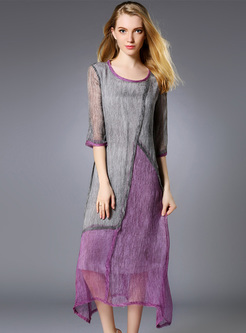 Contrast O-Neck Half Sleeves Women Dresses