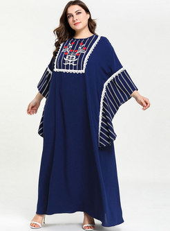 Stylish Striped Print Splicing Bat Sleeve Maxi Dress