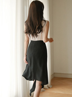 Stylish Sleeveless Top & Black Asymmetric Skirt